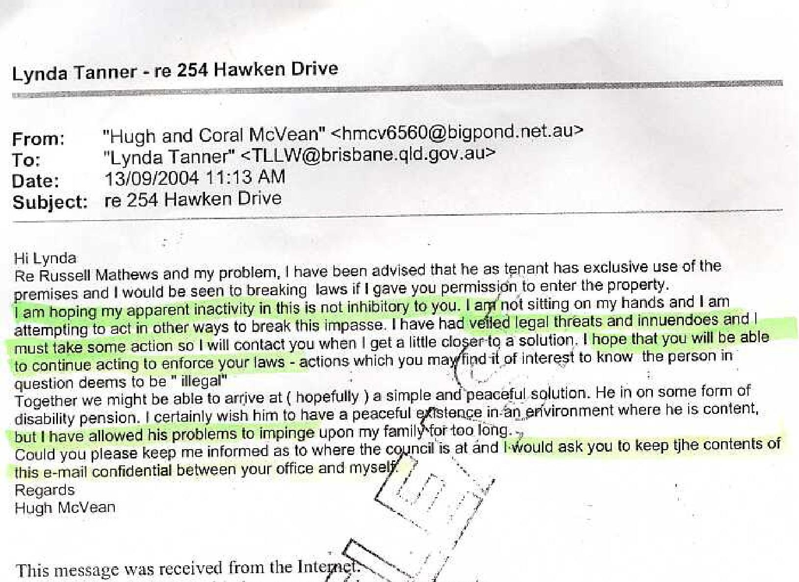 Hugh's letter to BCC to conceal from me he called the person in question.