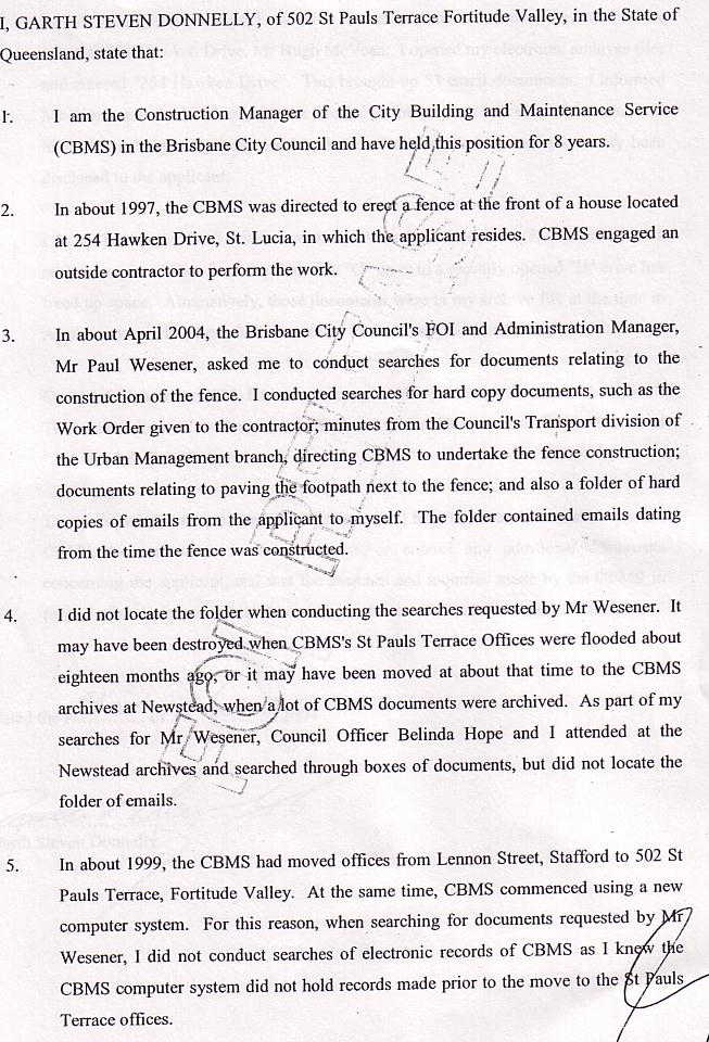 The actual Statiutory Declaration that Garth Donnelly tried desperately to avoid signing.
