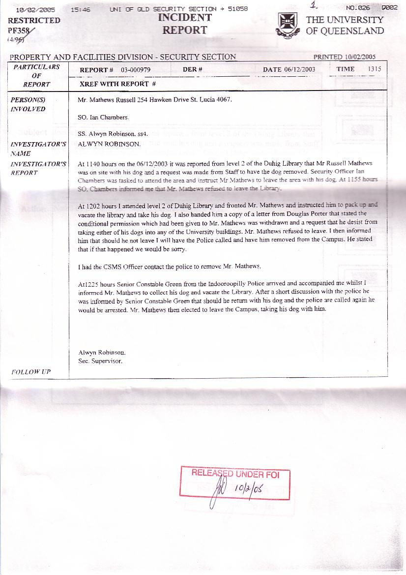 http://HaigReport.com/images/20031206UQ_SecuritySupervisorAlwynRobinsonRePyosikNotBarking826x1169.jpg