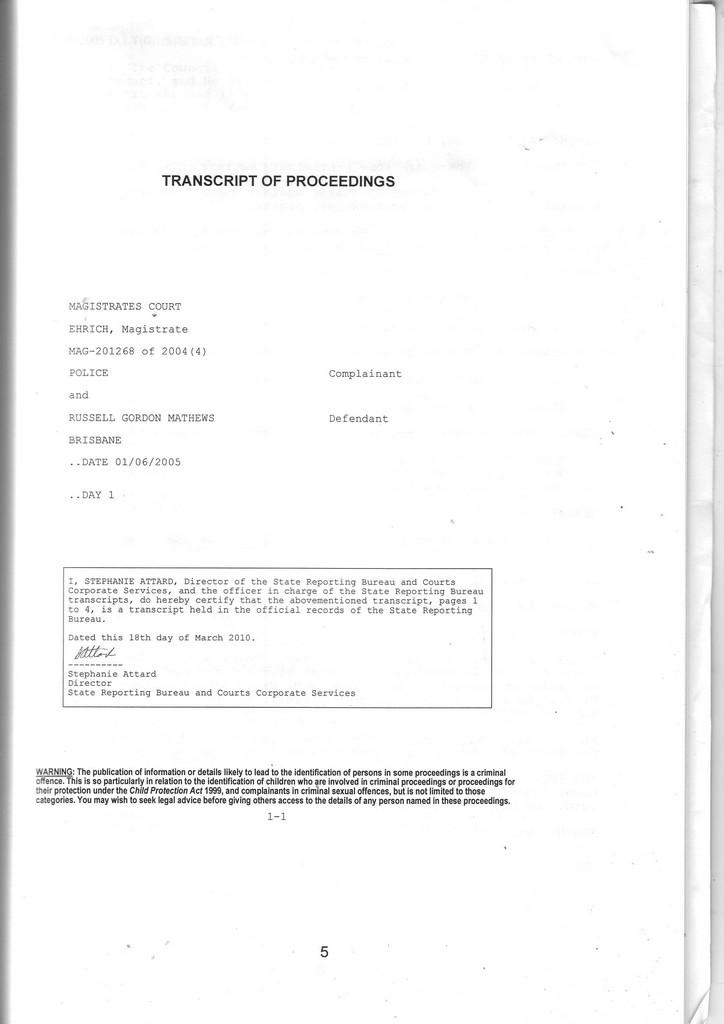 20050601MagistrateCourtTranscriptFraudWalterHarveyEhrichJohnPedenPrasleyVPraser