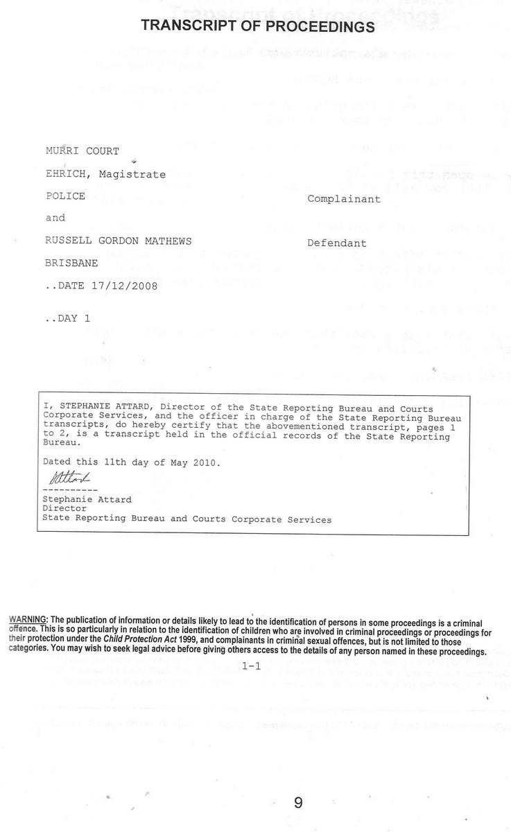 /20081217MagistrateCourtTranscriptFraudFarceWalterHarveyEhrichPoliceSgtCox